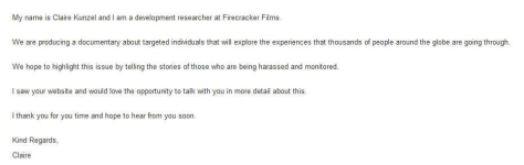 Email from FF Films