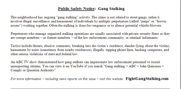 http://fightgangstalking com/tactics-for-fighting-back